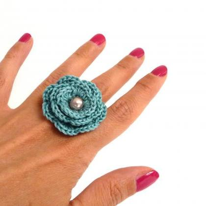 White Crochet Flower Ring - Cotton ..