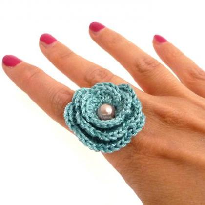 Crochet Flower Adjustable Ring - Mi..