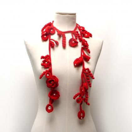 Crochet Lariat Necklace - Freeform ..