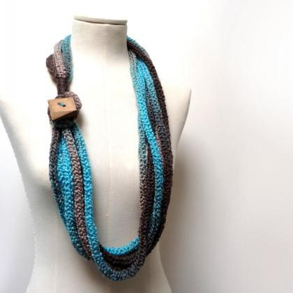 Knit Infinity Scarf Necklace, Loop ..