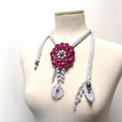 Crochet Cotton Lariat Necklace - Li..