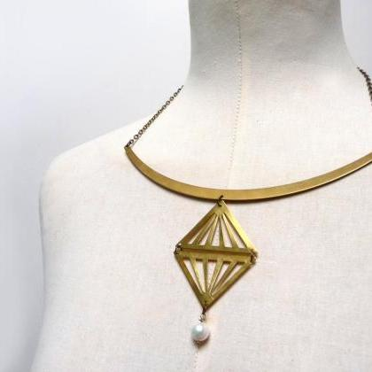 Gold brass triangle necklace with f..