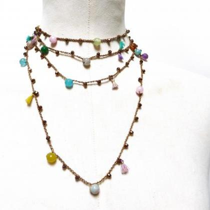 Long Boho Beaded Necklace with Gold..