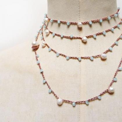 Long Beaded Necklace, Rose Gold Mul..