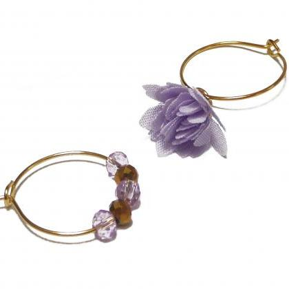 Gold Hoop Earrings with Lilac misma..