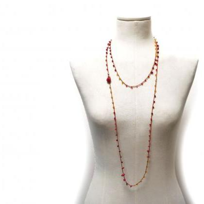 Long Beaded Wrap Necklace with Red ..