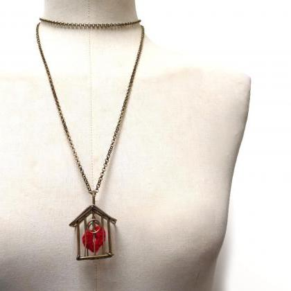 Birdcage Heart Necklace, Red Heart ..