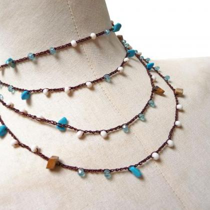 Long Beaded Necklace, Boho Style Mu..