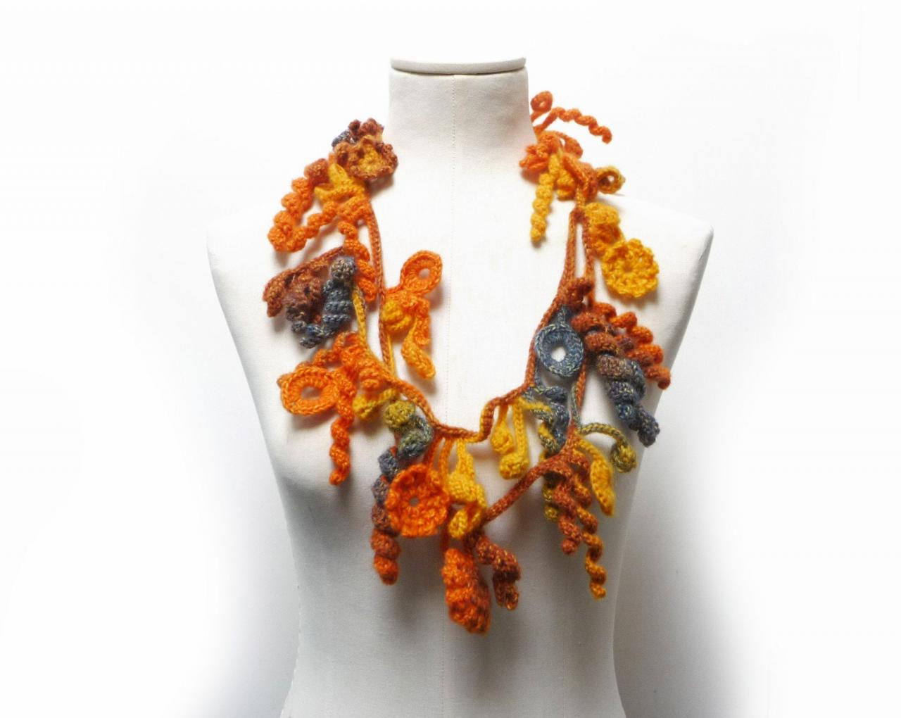 Crochet Freeform Necklace, Orange Yellow Green Wool with Flowers and Leaves, Long Fall Winter Fiber Garland Necklace