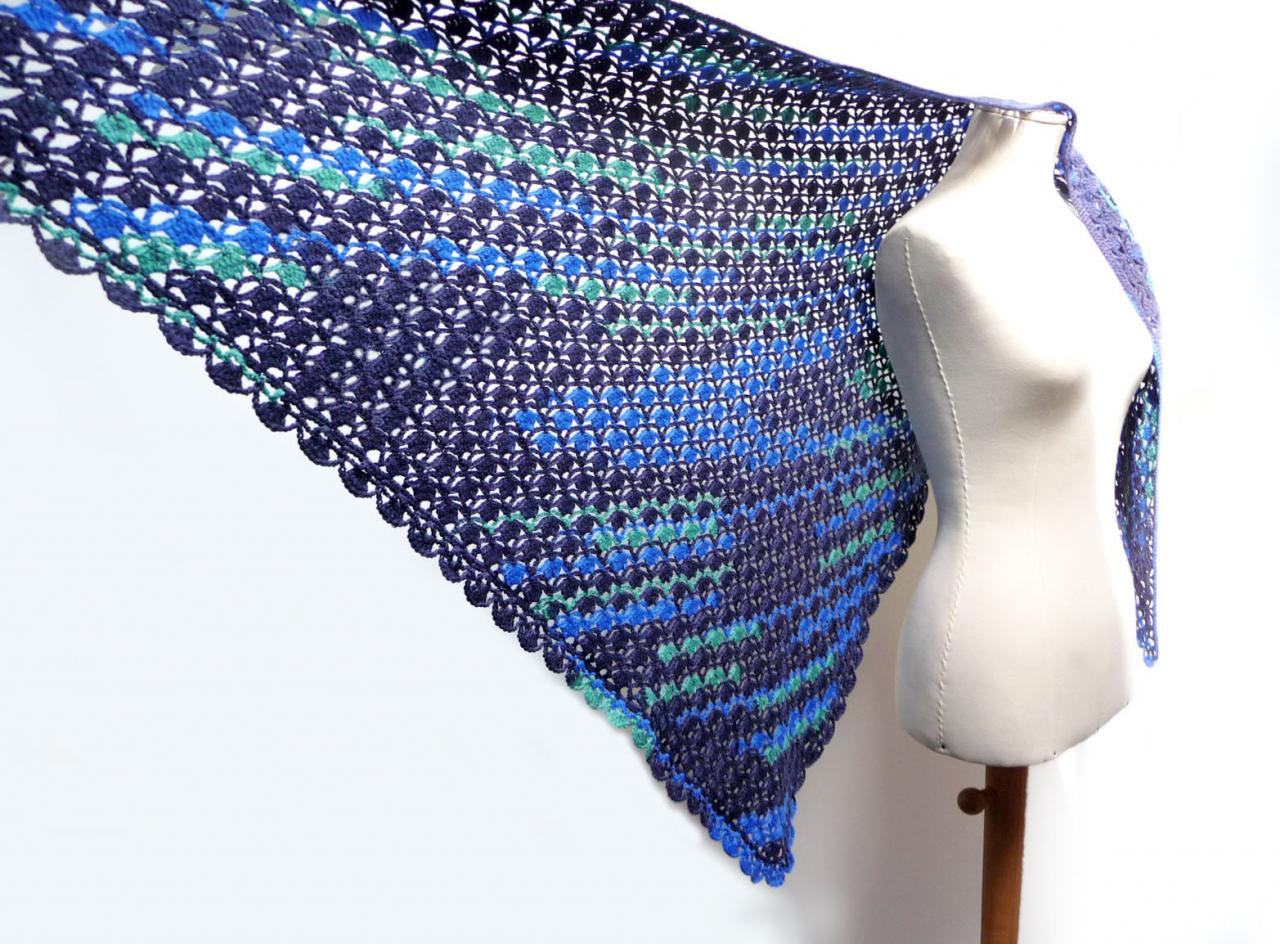 Triangle Crochet Shawl Scarf Wrap Stole - Blue, Cobalt and aqua Green Wool - Crochet Lace Pattern