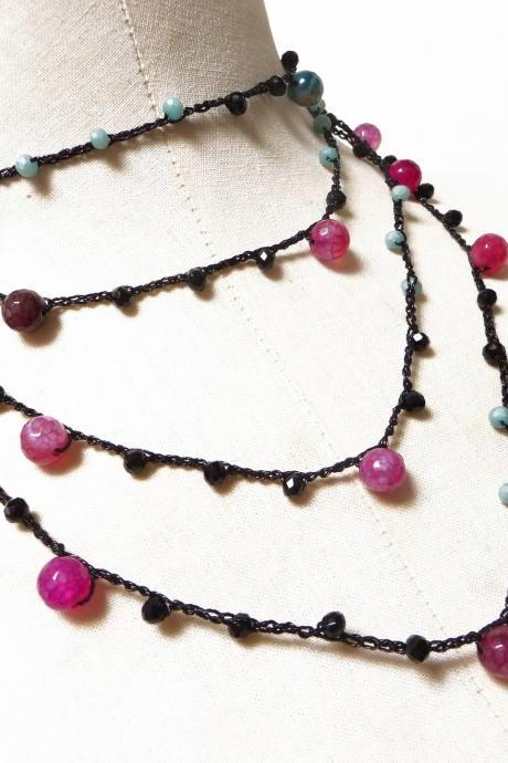 Black Long Beaded Necklace with Pink and Green Semi Precious Beads and Tiny Crystals, Crochet Rosary Necklace