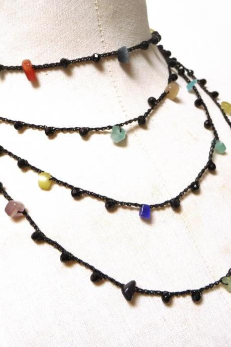 Long Beaded Necklace with Black Crystals and Multicolor Gemstone Chips, Crochet Rosary Necklace