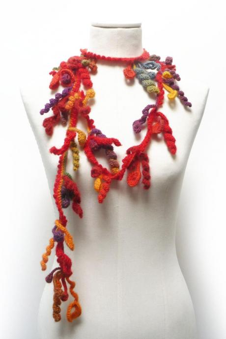 Crochet Freeform Lariat Necklace, Red Orange Yellow Purple Green Wool with Flowers and Leaves, Long Fall Winter Fiber Garland Necklace