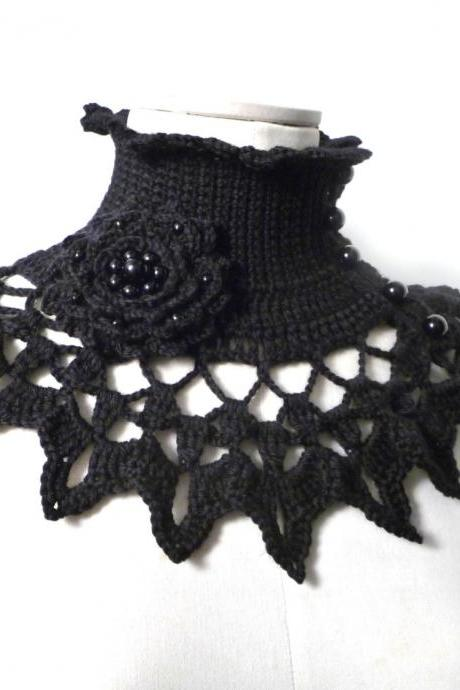 Black Crochet Neckwarmer / Collar with turtleneck, ruffle neckline, lace collar and flower brooch with glass pearls - NINU'