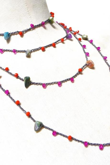Extra Long Beaded Necklace with Orange and Hot Pink Crystals + Multicolor Shell Chips, Crochet Boho Rosary Necklace