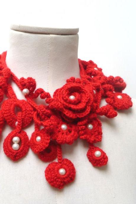 Crochet Lariat Necklace - Freeform Scarflette - Red Flowers and Leaves with White Glass Pearls - ZOE - Custom Color