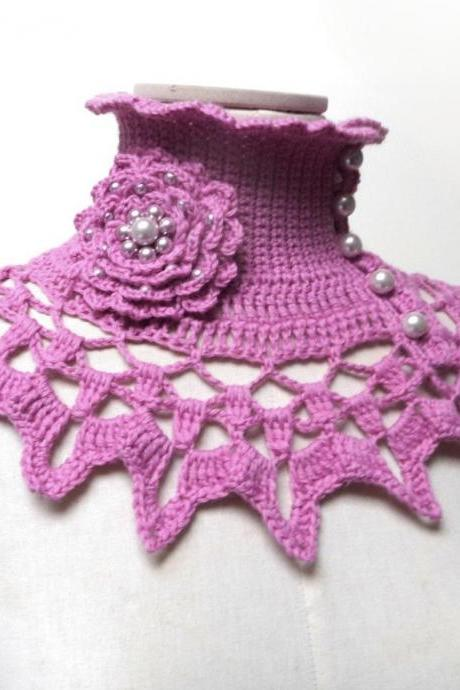 Pink Crochet Collar with Turtleneck, Ruffled and Lace Neck Piece, Custom Color Wool Neckwarmer, Boho Victorian Style, Mom Best Friend Gift