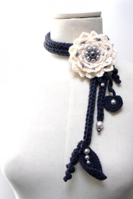 Crochet Lariat Necklace - Cream White Flower and Grey Leaves with Glass Pearls - Made to Order - LITTLE PEONY