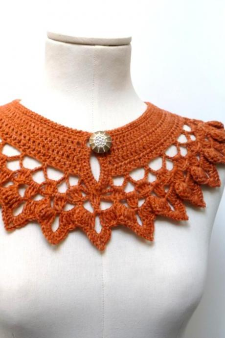 Burnt Orange Collar Necklace, Crochet Wool with Silver Button, Collar Necklace, Crochet Jewelry, Crochet Necklace, Peter Pan Collar