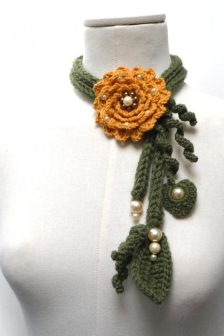 Crochet Lariat Necklace - Olive Green Leaves and Mustard Yellow Flower with Glass Pearls - Made to Order - LITTLE PEONY