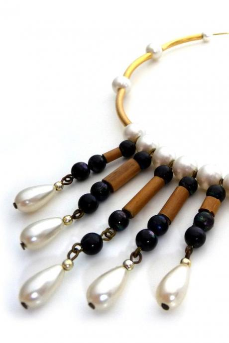 Gold statement garland necklace - Gold choker with black beads, wood sticks and white pearl drops