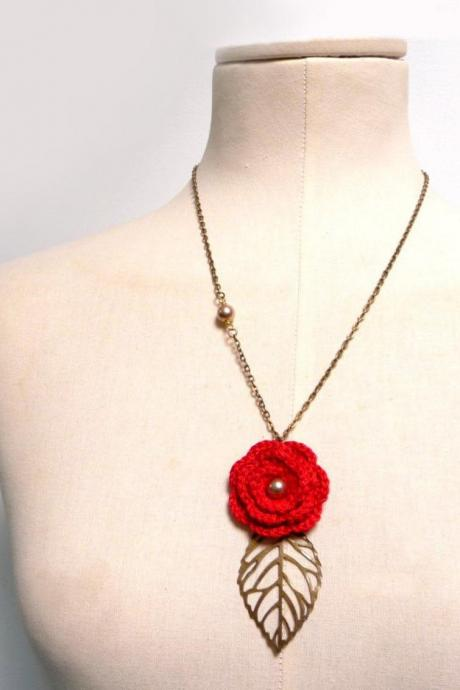 Crochet Flower Necklace with Brass Chain and Leaf - Red cotton flower with pearls - Choose the color