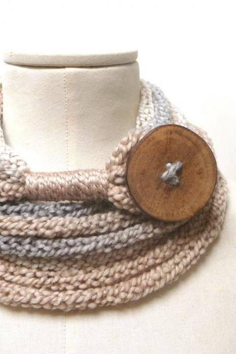 Knit Infinity Scarf Necklace, Loop Scarlette Neckwarmer - Cream, Beige, Grey ombre yarn with big wood button - Handmade