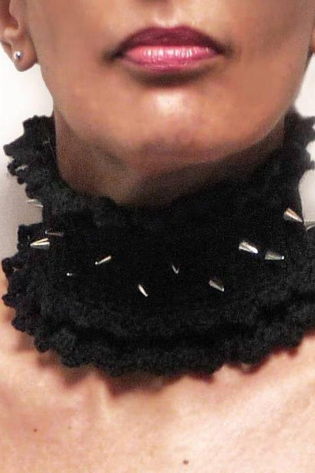 Crochet Black Neckwarmer with Silver Spike Studs, Spike Stud Choker, Punk Rock Collar, Steampunk Goth Neckwarmer, Game of Thrones Collar