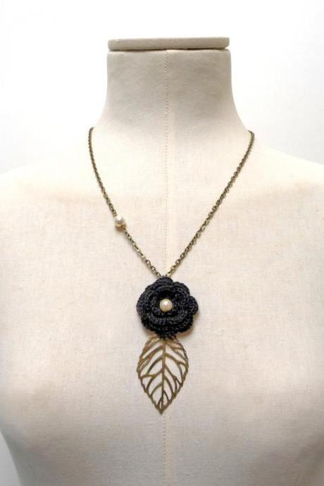 Black Flower Necklace with Brass Chain and Leaf - Crochet cotton flower with pearls - Choose the color