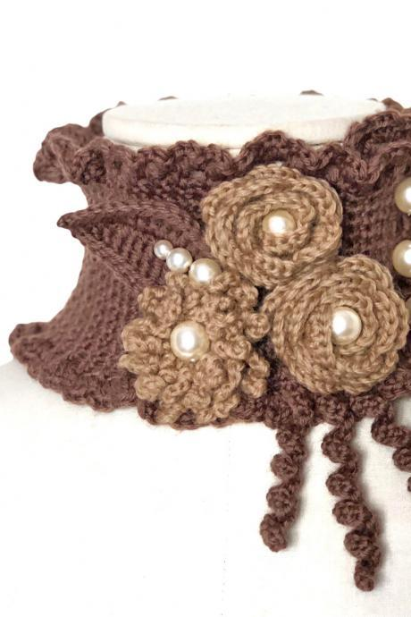 Crochet Scarf Necklace with Flowers, Leaves and Glass Pearls - Crochet Neckwarmer Cowl Choker, Made to Order, Custom Colors - WINTER GARDEN