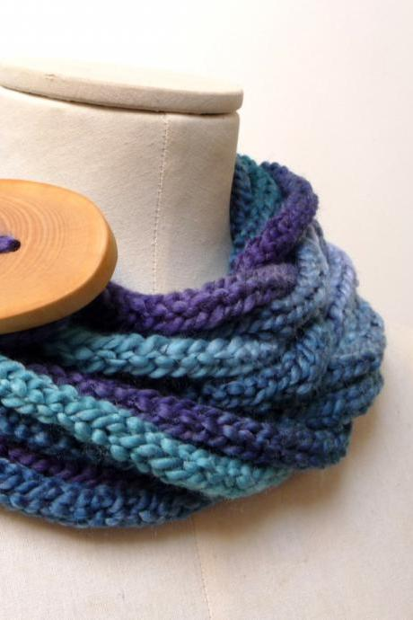 Knit Infinity Scarf Necklace, Loop Circle Scarflette Neckwarmer - Blue Sapphire Teal ombre yarn with big wood button, Chunky Crochet Scarf