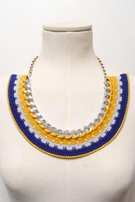 Summer Bib Necklace - Blue and Yellow Crochet Cotton - Silver Chain Choker