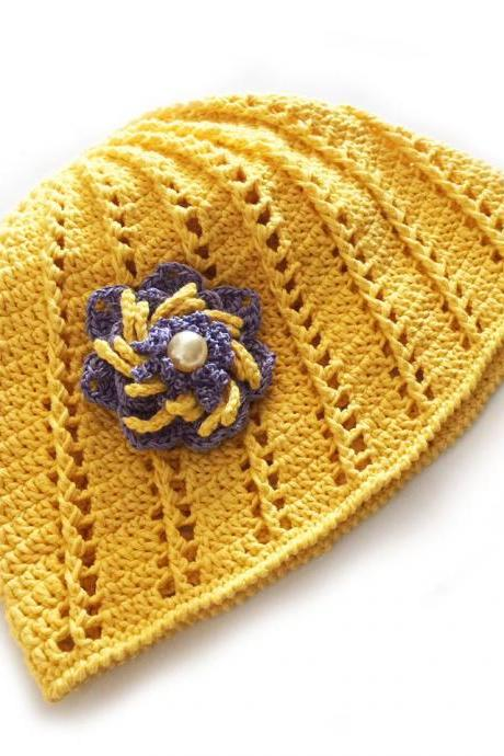 Yellow Cotton Beanie Hat, Crochet Lace Summer Hat, Womens Beach Hat, Beach Cap with Flower Brooch