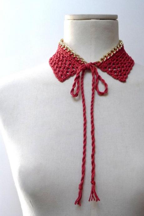 Crochet Collar Necklace - Gold Metal Chain and Orange / Rusty Brown / Brick Red Cotton