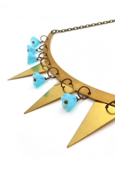 Gold brass garland necklace, triangles and turquoise flower glass beads, geometric jewelry