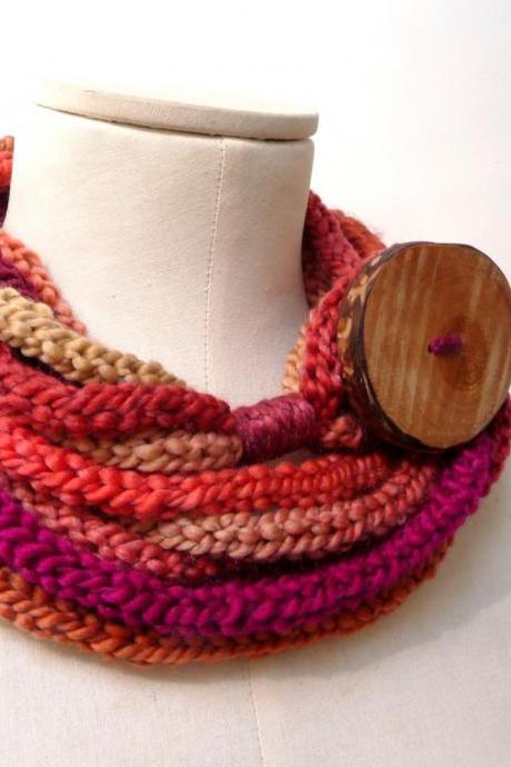 Knit Infinity Scarf Necklace, Loop Scarlette Neckwarmer - Red, Purple, Orange, Mustard Yellow ombre yarn with big wood button - Handmade