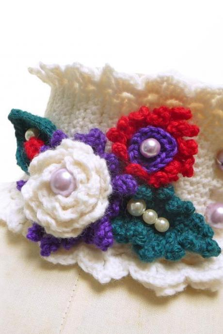 White Crocheted Cowl Neckwarmer with red + purple flowers, green leaves and glass pearls, Wool Scarf Necklace, Christmas Gift, WINTER GARDEN