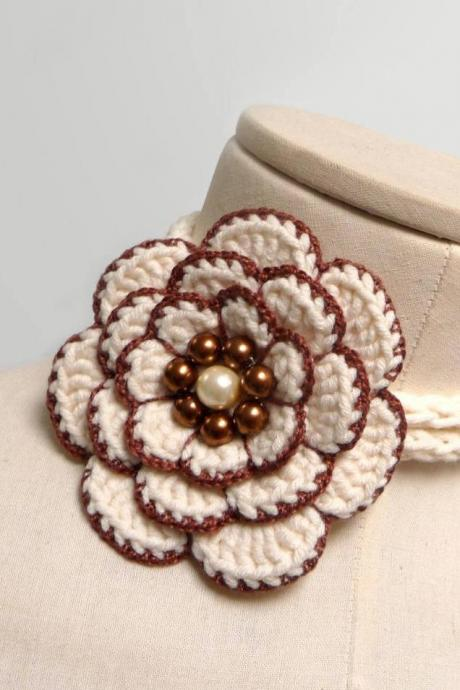 Crochet lariat necklace with big flower, white and brown cotton with pearls - FULL BLOOM