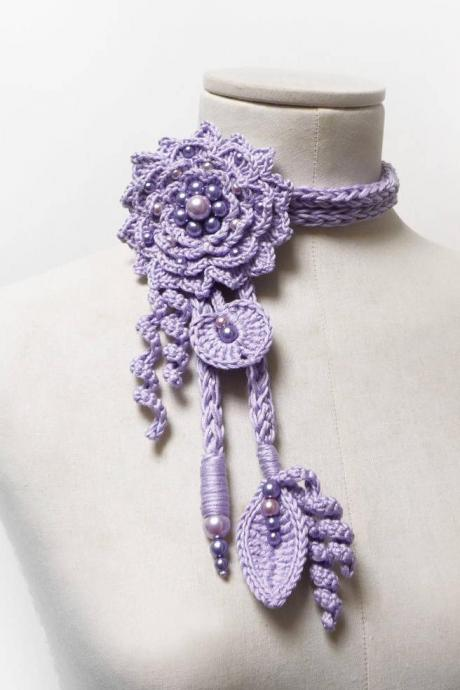 Crochet Lariat Necklace with Giant Flower and Leaves - Light Purple / Lilac Cotton and Glass Pearls - LITTLE PEONY