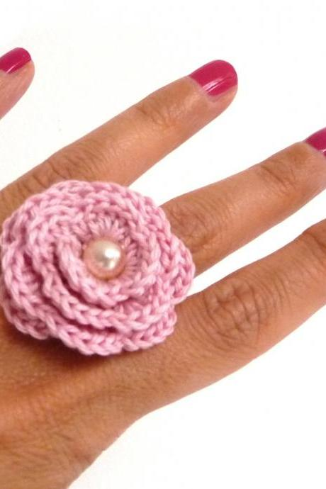 Pink Crochet Flower Ring - Cotton Rose, Adjustable, Statement, Boho, Romantic Ring - Bridesmaid, Mothers Day, Anniversary, Valentines Gift