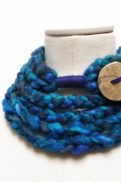 Loop Infinity Scarf Necklace, Crochet Scarflette Neckwarmer - Blue, Teal, Turquoise multicolor yarn with giant wood button
