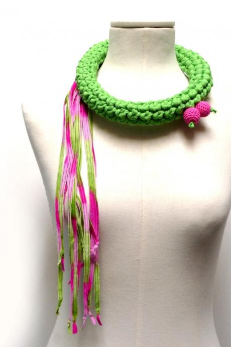Crochet Statement Necklace - Lime Green Upcycled Jersey Yarn and Hot Pink Ribbons - Jersey Scarf Cowl - Crochet Jewelry - Textile Necklace