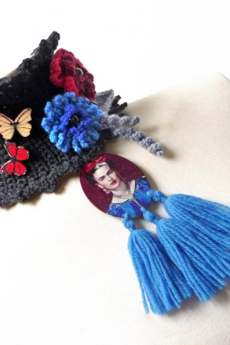 Black Choker Necklace with Tassels - Black Neckwarmer - Wool Crochet Cowl Scarf with Red and Blue Flowers, Grey Leaves and Butterflies