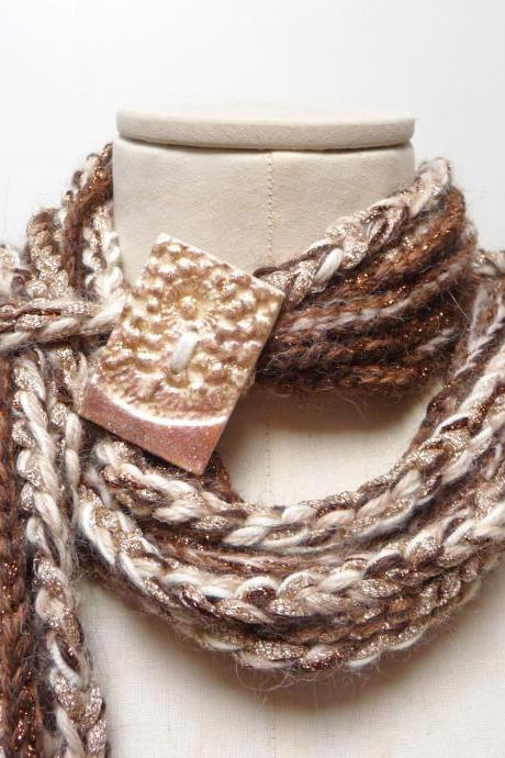 Loop Wool Scarf Necklace, Infinity Crochet Neckwarmer - brown gold copper and cream white yarn with giant clay handmade button, Hygge scarf