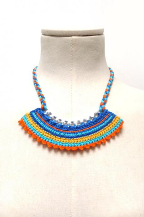 Crochet Cotton and Chain Necklace Choker - Color Block Statement Necklace - Silver chain with yellow, orange, turquoise, blue cotton