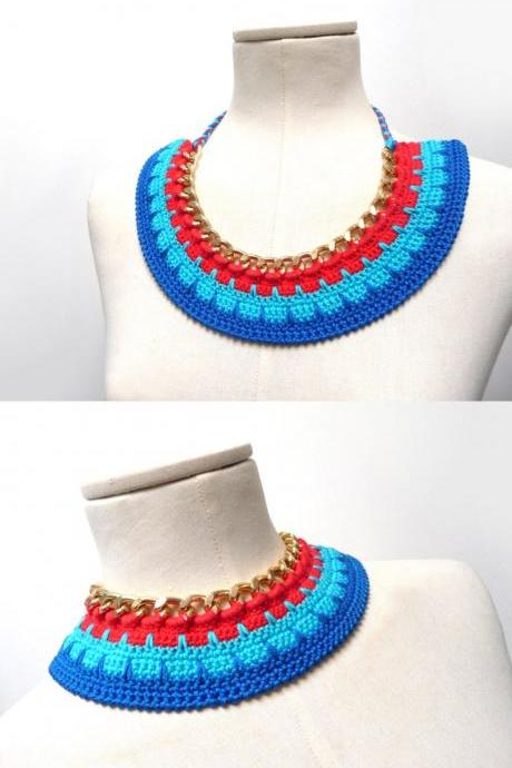 Crochet Cotton and Chain Necklace Choker - Color Block Statement Necklace - Gold chain with red, turquoise, blue cotton