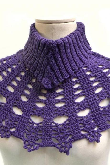 Ultra Violet Capelet with Knit Turtleneck and Crochet Bib Collar, Plum Purple Cape for Women, Wool Poncho Neck Warmer, Mother Day Gift Idea