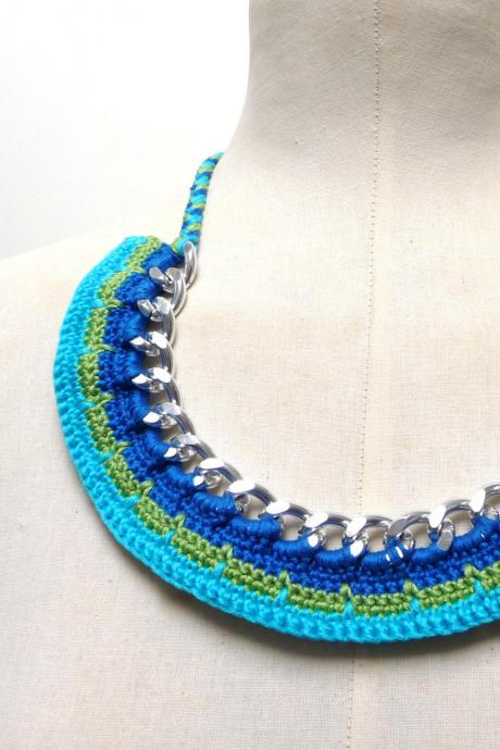 Multicolor Bib Necklace, Statement Collar, Blue Turquoise Green Crochet Cotton, Spring Summer Tribal Ethnic Chunky Jewelry, Best Friend Gift