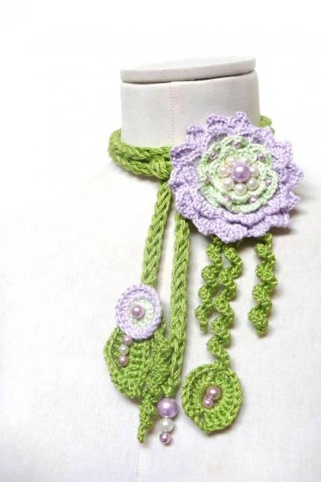 Crochet Cotton Lariat Necklace - Lime Green Leaves and Lilac Flower with Glass Pearls - LITTLE PEONY