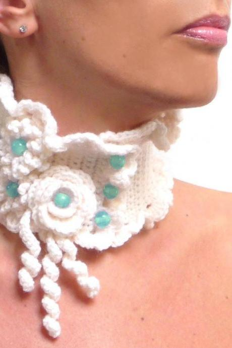 Crochet White Collar Neckwarmer, Wool Choker Necklace with Flowers and Aqua Green Glass Pearls, White Collar, Wool Neckwarmer - WHITE GARDEN